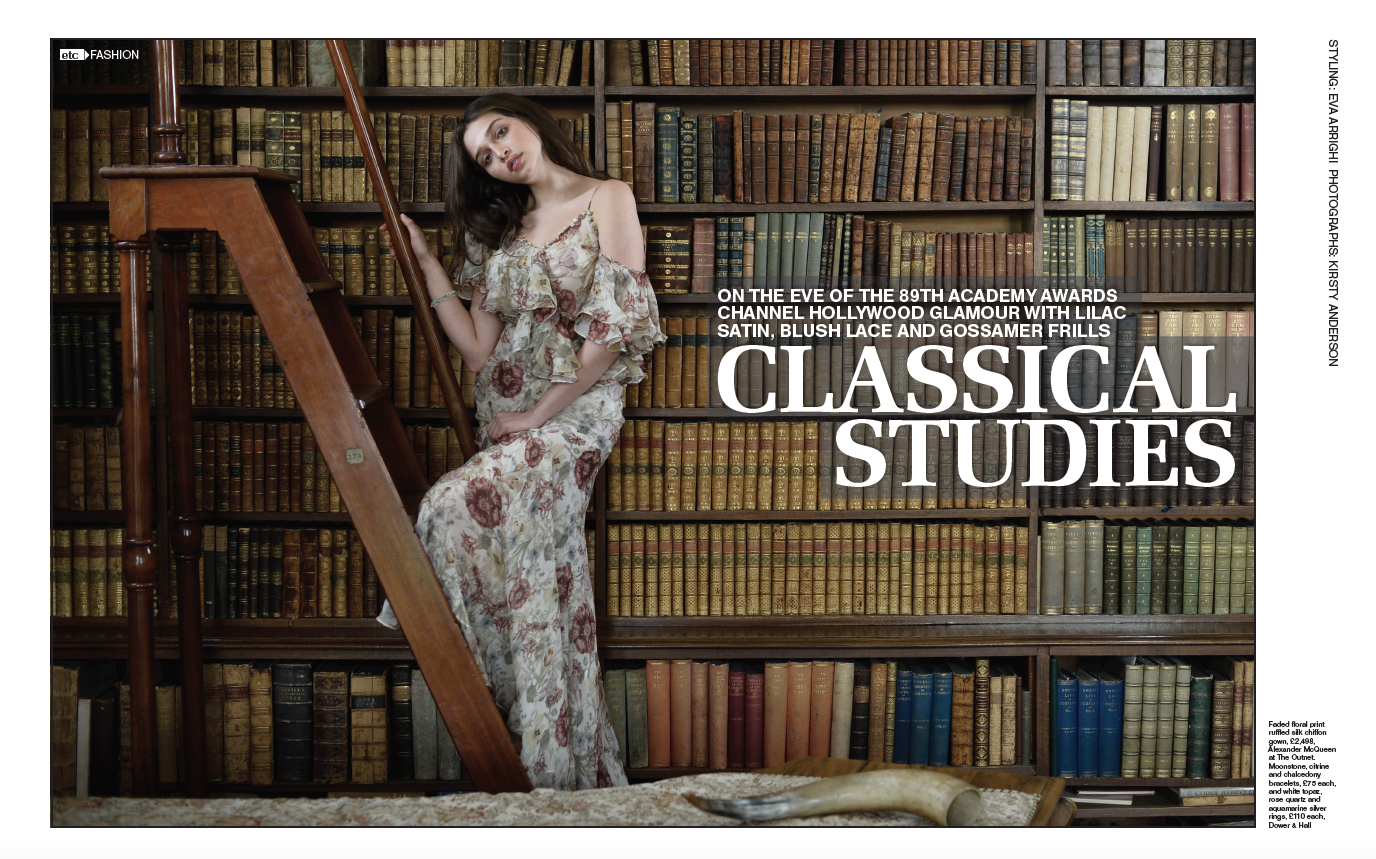 Broomhall House library in the Herald's 'Classical Studies' fashion spread, Summer 2017 3