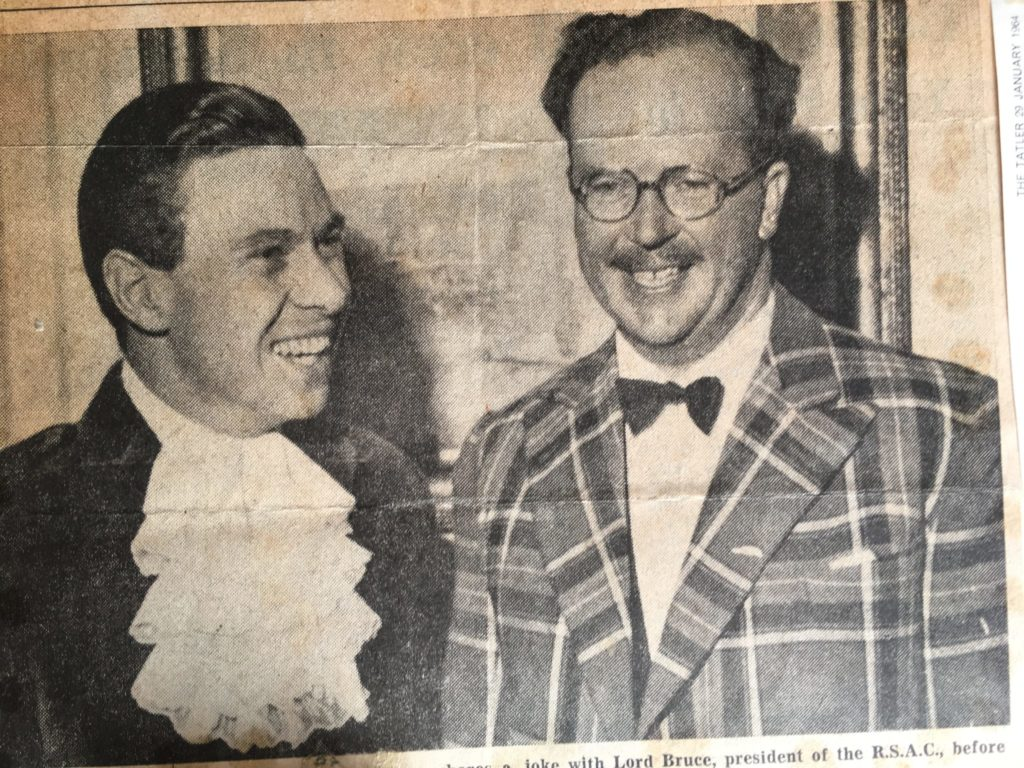 Scottish motor racing legend, Jim Clark sharing a joke with Lord Elgin (then Lord Bruce) at the Royal Scottish Automobile Club, 1963