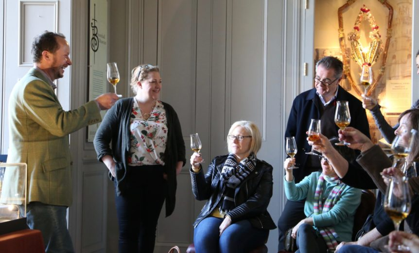 whisky tasting in the museum at Broomhall House