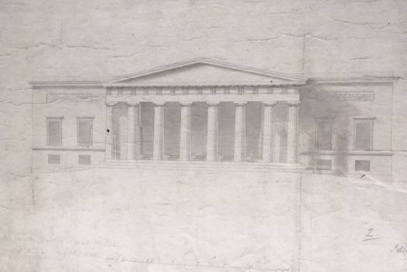 An eight column Doric portico designed for Broomhall House by Sir Robert Smirke in 1808