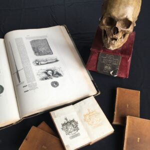old books and a skull